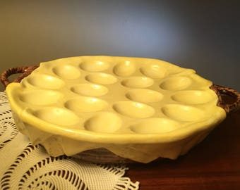 Unique ceramic basket deviled eggs serving tray