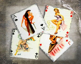 Retro Pinup Playing Card Drink Coaster Set, Pinup Party Favor, Game Room Decor, Man Cave Gift Idea, Retro Barware, Vintage Pinup Gift Idea