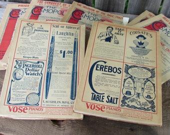 Antique Early 1900's The Cosmopolitan Magazine, Set of Seven Magazines