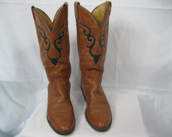 Brown and Black Leather Tony Lama Distressed Cowboy Boots