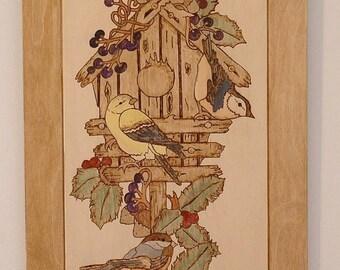 Bird House, Pyrography Wall Decor, Wood Wall Art. Wood Burned