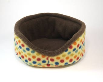 "Cuddle cup - 8""- brown polka dottie - guinea pig accessories - dwarf bunny -rat- pygmy hedgehog - READY TO SHIP"