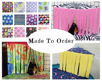 Guinea pig fleece hideout - corner curtain - guinea pig fleece - forest - hidey - gift for guinea pig lover - custom made - MADE TO ORDER