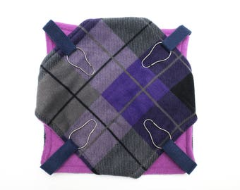 Small animal fleece double hammock - ferrets  rats sugar gliders guinea pigs - purple plaid - bunked hammock - READY TO SHIP