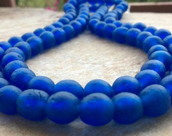 20 Zaffre Blue African Recycled Glass Beads,20 Glass Beads, Blue African Beads,10-12 mm Ghana Recycled Glass Beads,African Krobo Beads