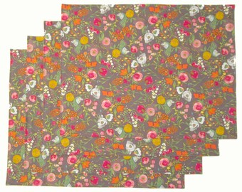 Large Cloth Place Mats - Set of 4 - Gray Pink Blue Floral Flowers -  Reversible