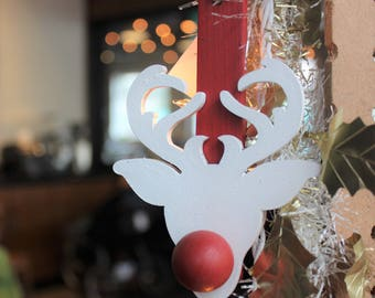 Rudy Tree Ornament - Reindeer Ornament - Painted White Christmas Tree Ornament