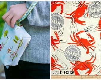 Custom Pooch Pouch Leash Bag/Wristlet in Crab Bake