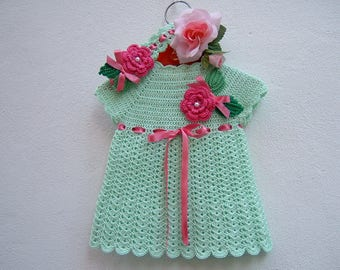 Baby crochet dress-headband from baby girl-Outfit size cotton light green-Rose 0-3 months and leaves appliqué-baby Fashion