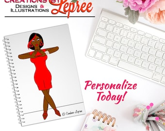 Notebook: Delta Sigma Theta Hand Sign Fashion Character Illustration Notebook (Full Body)