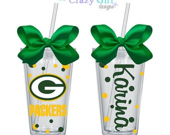 Personalized Green Bay Packers Tumbler with Straw 16 oz. Acrylic Cup BPA Free Custom
