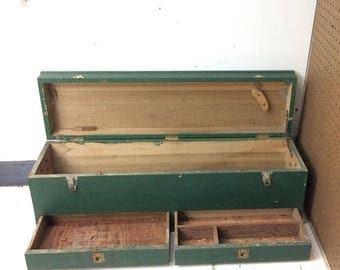 wooden tool box etsy. sale through dec 24th antique green wooden carpenter tool box, machinist chest, handmade box etsy