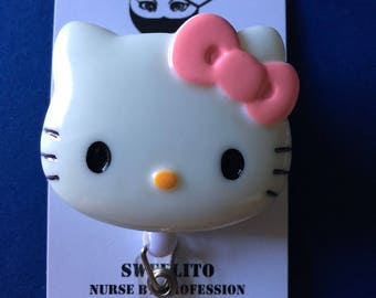 Hello Kitty© XL Cat Pink Bow Handmade ~ ID Holder ~ Badge Reel ~ Belt Clip ~ Alligator Clip~ Retractable Badge ~ Gifts Nurses Doctor Teacher