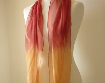 orange scarf orange silk scarf red scarf red silk scarf ombre scarf hand dyed scarf eco scarf red orange scarf TraditionalDyeWorks