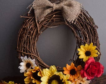 Fall themed wreath perfect in time for thanksgiving and the holidays