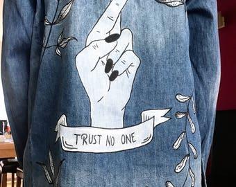 Trust No One. painted denim shirt