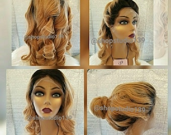 Custom made and colored honey blonde lace front wig