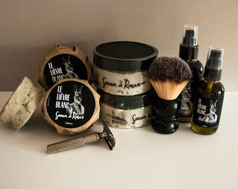 Shaving Lubricants Kit - Shaving Soap and Shaving Oil - Complete Sensory Experience - Great Men Gift idea - Wet shaving