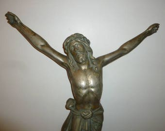 Exceptional Huge Antique Religious art bronze sculpture of Jesus Christ circa 1880s