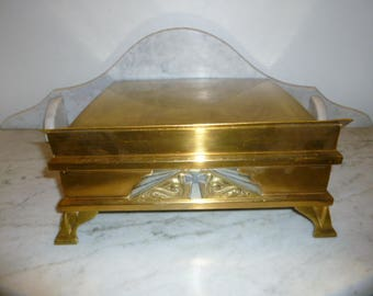 French religious Art Deco brass bible missal stand with cross church presbytery circa 1930s