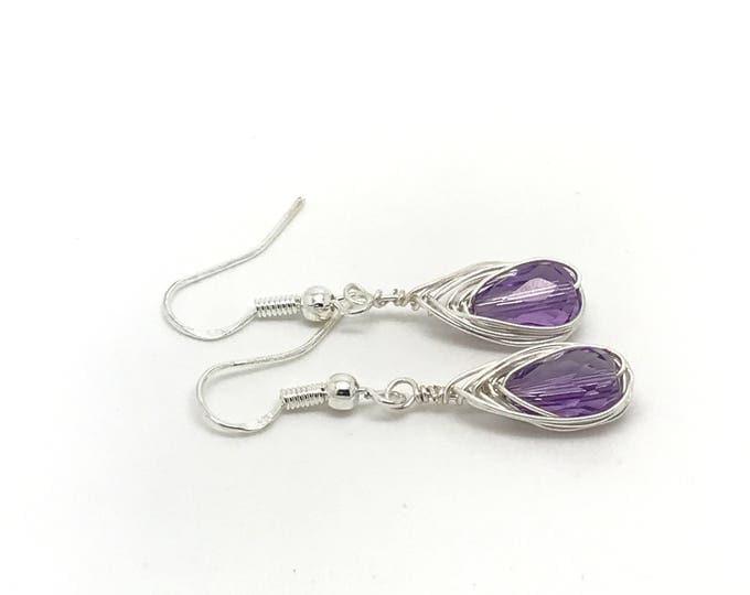 Amethyst Teardrop February Birthstone Purple Earrings, Purple Quartz andSwarovski Earrings