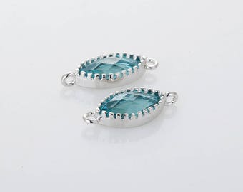 Dark Blue Zircon Glass Connector, Pendant Polished Rhodium - Plated - 2 Pieces <G0245-PRDBZ>