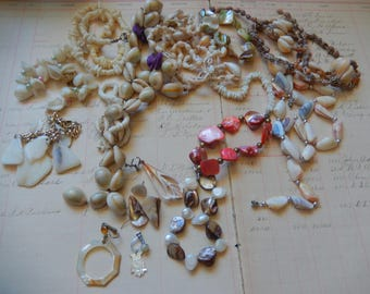 15 Piece Vintage Shell Necklace Earring Junk Jewelry Lot