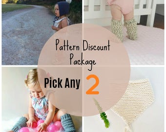 Pattern Discount Pack, 2 Design Pack, Bundle and save, patterns, Downloadable Project, knitting patterns, crochet patterns