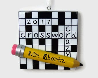 SHIPS FREE - Crossword Personalized Ornament - Crossword Crazy - Hand Personalized Christmas Ornament