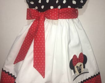 Girls Minnie Mouse Dress Peasant Twirly Dress Polka Dots Boutique Peasant Dress Outfit! Baby Toddler Infant Mickey Peeking Birthday Party