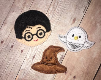 Set of 3 or 4 Wizard Felties Feltie Felt Embellishment Bow! Birthday Party Oversized Oversize Planner Clip Girl Harry Witchcraft Owl Sorting