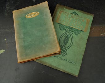 Decorative Green Books of Poems Antique - Prose Poetry Book Collection Suede & Hard Cover