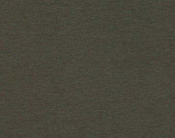 Dark Olive Heather, Solid Olive, Cotton Spandex Jersey Knit Fabric