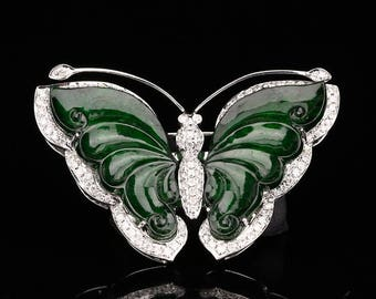 N3970 18K White Gold Inlay Emerald Jadeite Natural Diamonds Butterfly Brooch