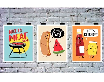 BBQ Printables, Instant Download, 3 Piece Wall Art, Punny Art, Barbecue Birthday Party, Nice to Meat You, Let Me Be Frank, Let's Ketchup