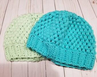 Hand Crochet Puff Stitch Beanie