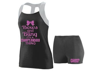 Cheer Practice Set Bows and Bling SILVER TANK