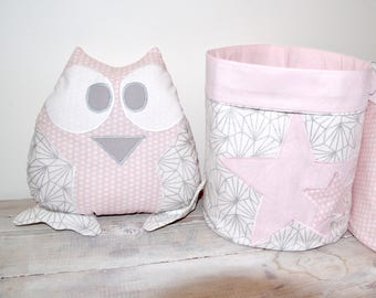 Little owl (powder pink white and silver)