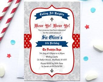 ritter-geburtstags-party-einladung druckbare, Einladung