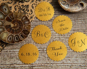 500 Old Gold Save the Date, Printed Envelope seals, wedding stickers invitations. Scalloped Round Favour stickers. Matt Pearlised shimmer
