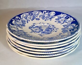 Royal Doulton 'Pomeroy' Blue and White Saucers Set of 7