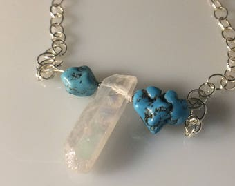 Raw Quartz with Turquoise Necklace
