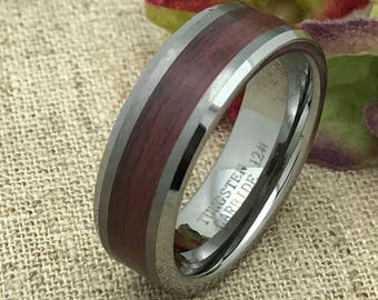 8mm Tungsten Ring. Wood Ring, Personalized  Engrave Tungsten Ring with Laminated Wood Inlay,Men's Wedding Ring Band, FREE ENGRAVING