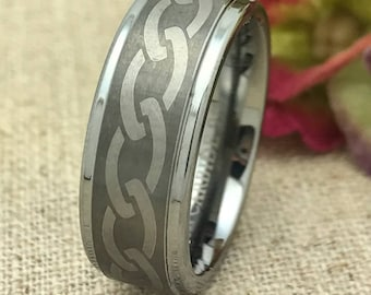 8mm Personalized Tungsten Wedding Band, Custom Engraved Tungsten Promise Ring, Wedding Ring, Couples Ring for Him, Purity Ring, Size 9