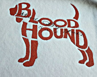Embroidery Design Digitized Blood Hound Text Fill 5 x 7