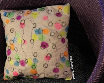 Handmade and handpainted embroidered cushion with neon circles scatter cushion throw pillows SALE