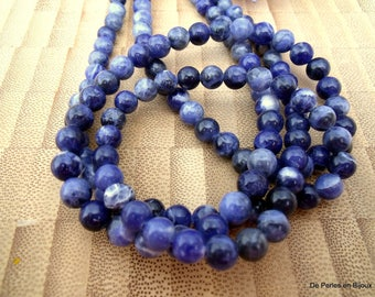 set 5 bead SODALITE round 6mm stone