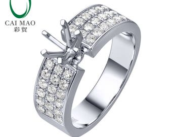 14K White Gold 5mm Round Cut 0.54ct Natural Diamond Semi Mount Engagement Ring Setting