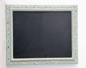 Chalk board / Blackboard - Shabby Chic Wooden Ornate Vintage Frame, Annie Sloan Duck Egg Blue, Gold