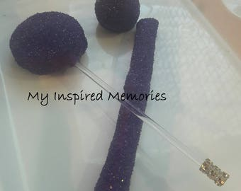 Purple and gold chocolate covered pretzels, purple oreos, purple cake pops, purple rice krispy